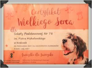 Certyfikat Wielkiego Serca - 2017